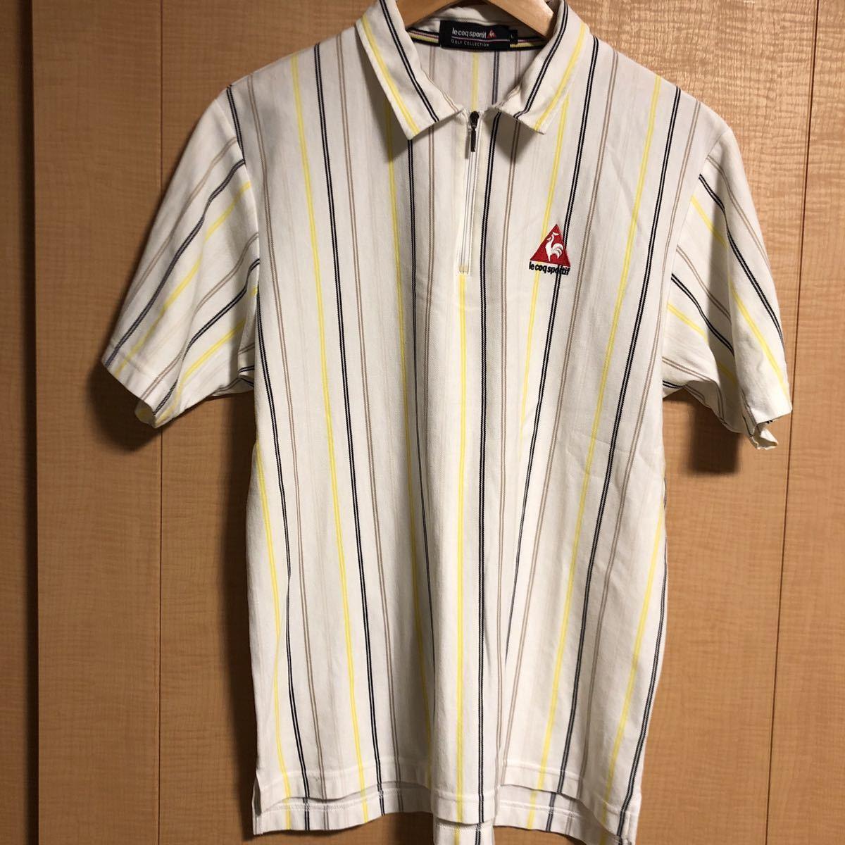 le coq sportif GOLF ルコック スポルティフ ゴルフ ハーフジップ ロゴ 半袖 ポロシャツ ストライプ メンズ SIZE L_画像2