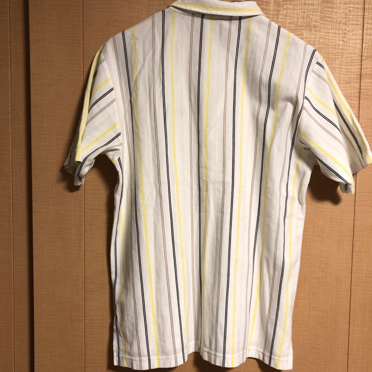 le coq sportif GOLF ルコック スポルティフ ゴルフ ハーフジップ ロゴ 半袖 ポロシャツ ストライプ メンズ SIZE L_画像3