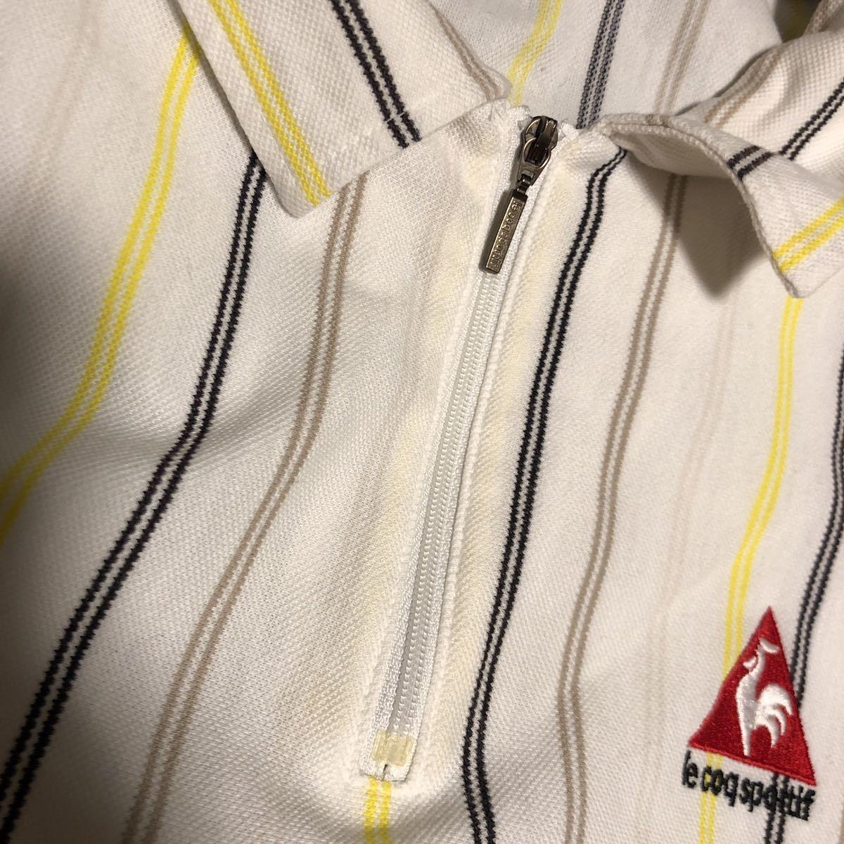 le coq sportif GOLF ルコック スポルティフ ゴルフ ハーフジップ ロゴ 半袖 ポロシャツ ストライプ メンズ SIZE L_画像6
