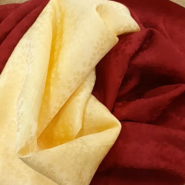 正絹 80402 黄色 赤色 薄手 無地 シルク2枚 はぎれ ハギレ リメイク ハンドメイド