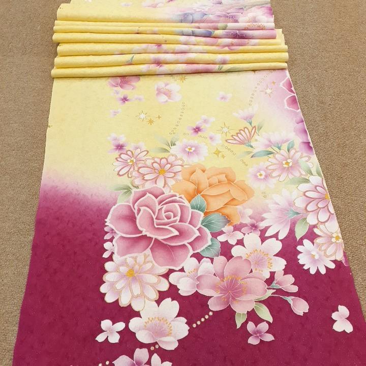 正絹 80197 クリーム色 ピンク色 花柄 シルク350cm はぎれ ハギレ リメイク ハンドメイド