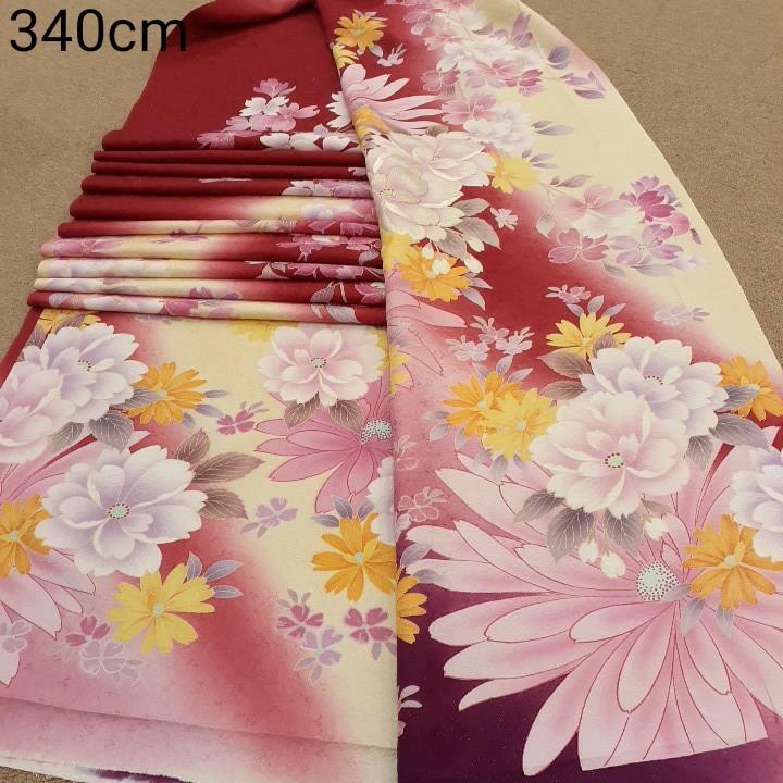 正絹 80198 赤色 クリーム色 花柄 シルク340cm はぎれ ハギレ リメイク ハンドメイド