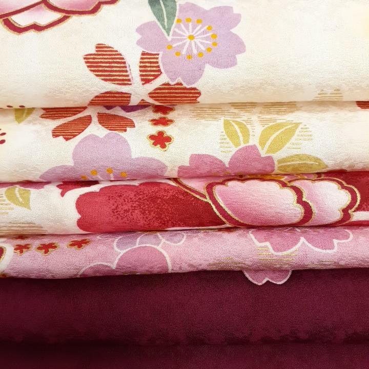 正絹 80301 白色 ピンク色 花柄 シルク230cm はぎれ ハギレ リメイク ハンドメイド