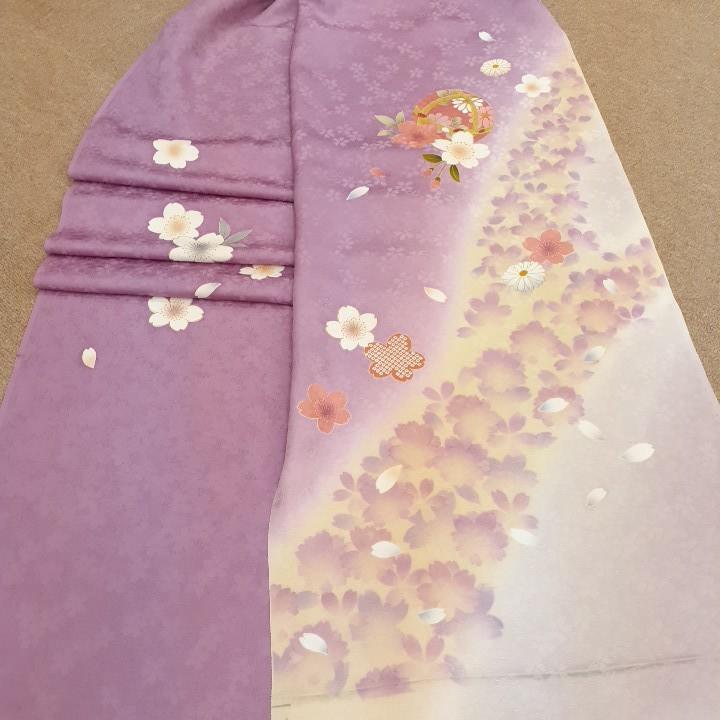 正絹 80302 紫色 桜柄 毬 シルク230cm はぎれ ハギレ リメイク ハンドメイド