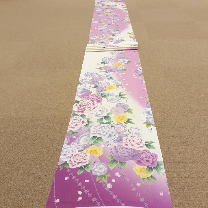正絹 80304 白色 ピンク色 花柄 シルク350cm はぎれ ハギレ リメイク ハンドメイド
