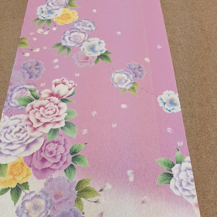 正絹 80305 白色 ピンク色 花柄 シルク350cm はぎれ ハギレ リメイク ハンドメイド