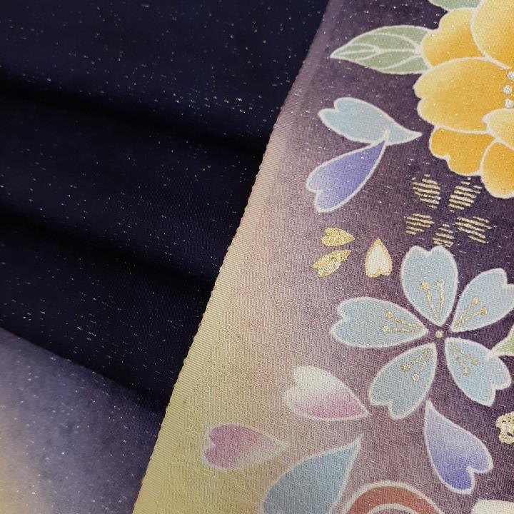 正絹 80307 紺色 紫色 花柄 シルク4枚 はぎれ ハギレ リメイク ハンドメイド