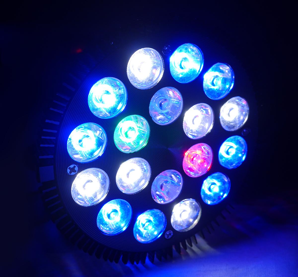 E26口金 54W 珊瑚 植物育成 水草用 水槽用 熱帯魚 LEDアクアリウムスポットライト 赤1/白6/青8/緑1/紫外線2 UV付き 【QL-14】_画像3