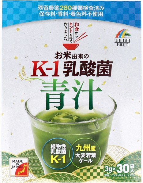 12箱 お米由来の K-1乳酸菌 青汁 3g×30袋入 お米由来の植物性乳酸菌K-1、イソマルトオリゴ糖を配合。スッキリとした美味しい青汁です。_画像2