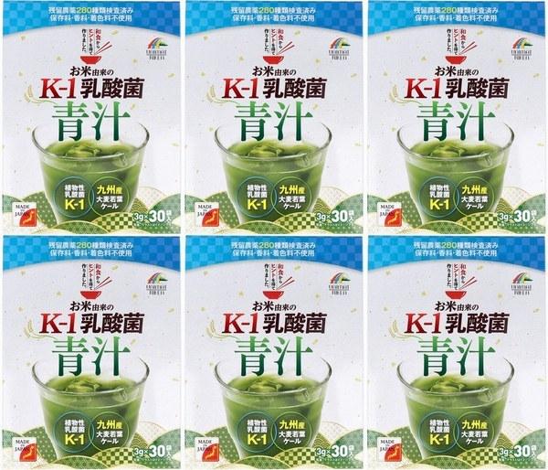 6箱 お米由来の K-1乳酸菌 青汁 3g×30袋入 お米由来の植物性乳酸菌K-1、イソマルトオリゴ糖を配合。スッキリとした美味しい青汁です。 _賞味期限:2023年5月