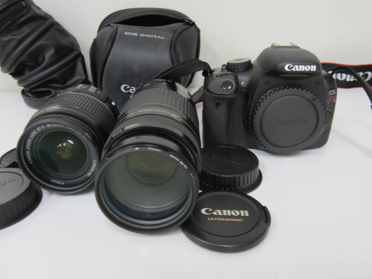 Canon キャノン EOS KISS X4 カメラ 18-55mm 75-300mm レンズ2本付 ジャンク扱いで 激安1円スタート