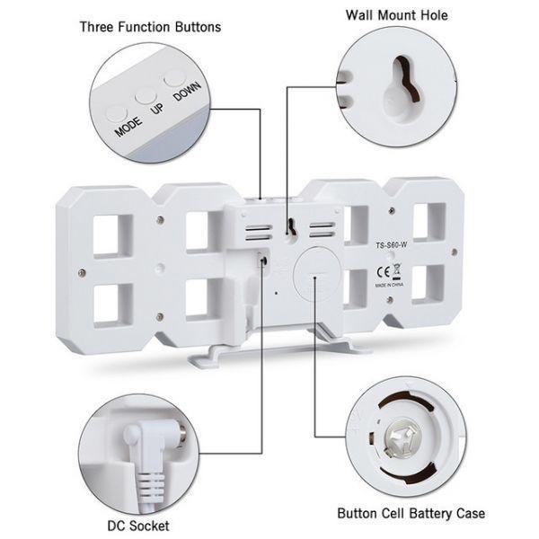 インテリア 壁掛け時計 デジタル ウォールクロック 選べる4色 LED Digital Numbers Wall Clock_画像4