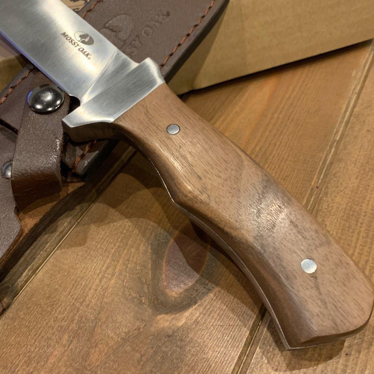 MOSSY OAK ナイフ シースナイフ フルタング 天然木ハンドル