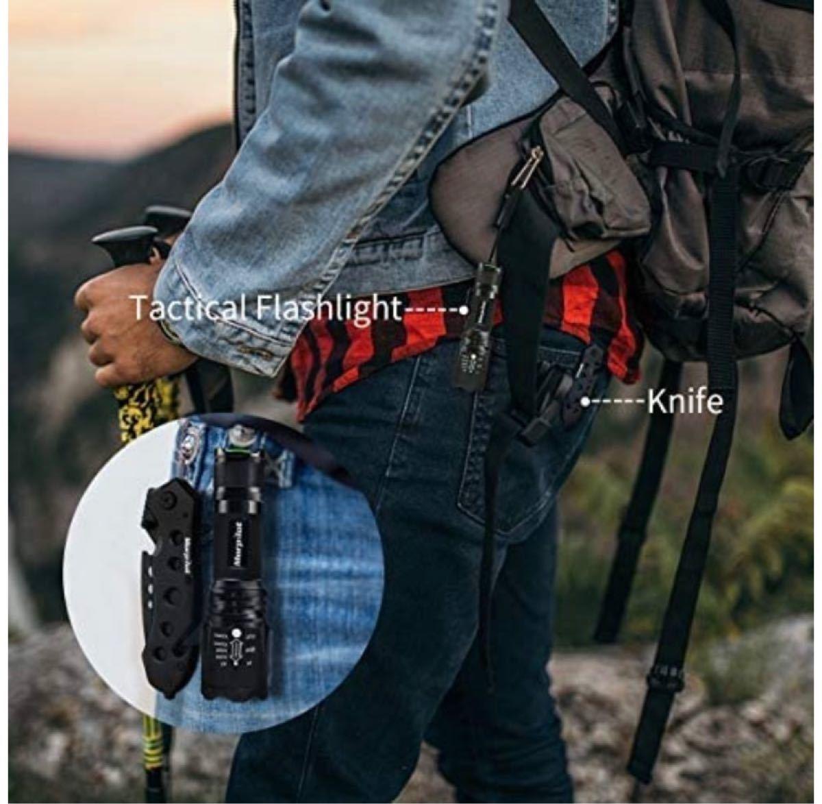 サバイバルナイフ  キャンプ フォールディング LED 懐中電灯 500ルーメン