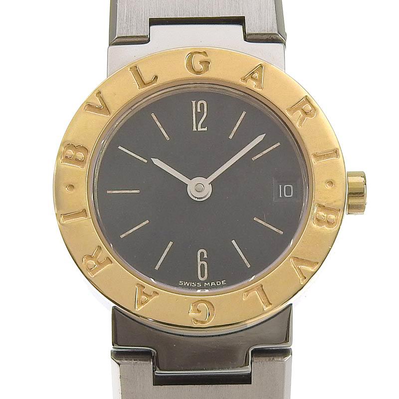 ブルガリ BVLGARI 時計 ブルガリブルガリ レディース クォーツ 腕時計 SS YG ブラック文字盤 BB23SG 中古 新入荷 BV0115_画像1