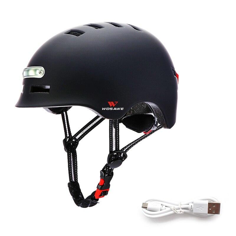 新品 ヘルメット tailligh ヘッドライトUSB 充電式信号警告 安全 電動 ヘルメット ml 黒 バイク 保護 アクセサリー_画像1