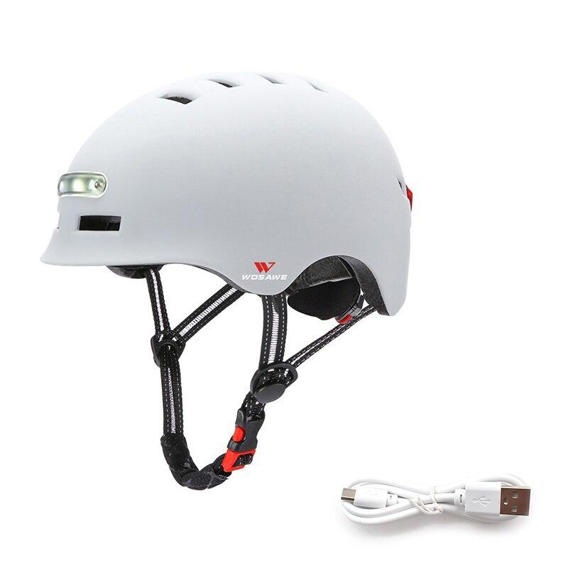 新品 ヘルメット tailligh ヘッドライトUSB 充電式信号警告 安全 電動 ヘルメット ml 白 バイク 保護 アクセサリー_画像1