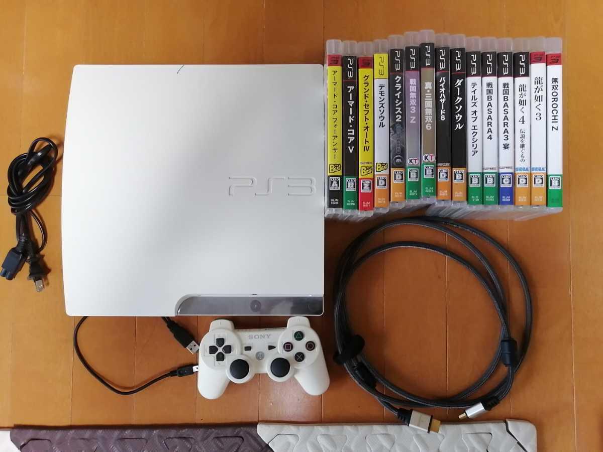 お買い得 美品 PS3 CECH-2500A 白ホワイト SONY プレイステーション3 PlayStation3 本体一式 ソフト15本セット 龍が如く 戦国無双 グラセフ