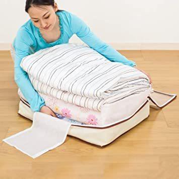 新品ベージュ アストロ 羽毛布団 収納袋 シングル用 ベージュ 不織布 コンパクト 優しく圧縮 131-22ZACF_画像4