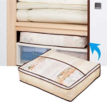 新品ベージュ アストロ 羽毛布団 収納袋 シングル用 ベージュ 不織布 コンパクト 優しく圧縮 131-22ZACF_画像3