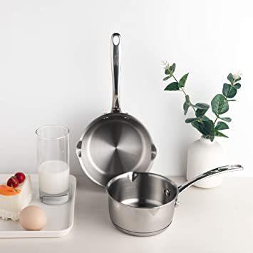 シルバー 500ml IMEEA ミルクパン 片手鍋 18-10ステンレス ソースパン 13cm IH対応 500ml 目盛付ミ_画像4