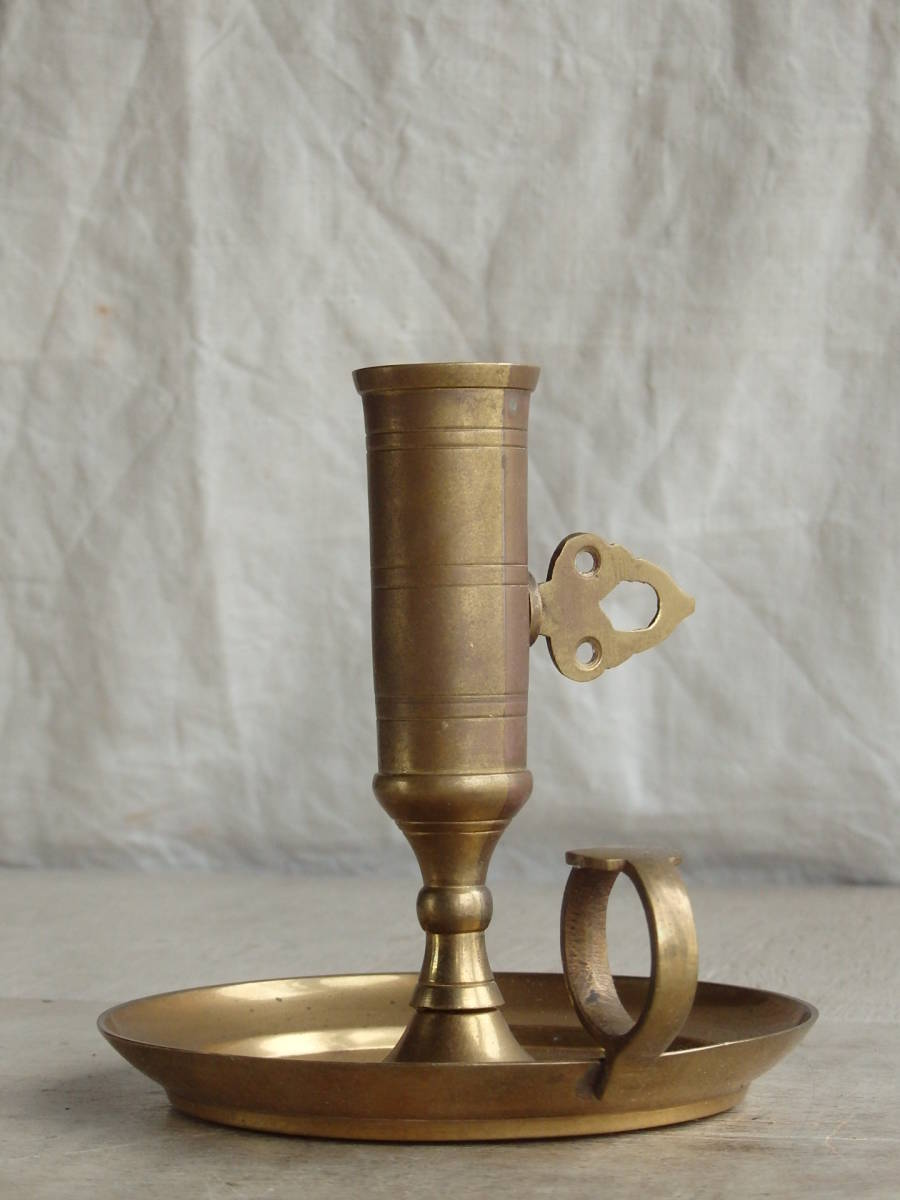 フランスアンティーク キャンドルスタンド 燭台 蚤の市 ブロカント ゴールド インテリア ディスプレイ 飾り 上下 真鍮_画像1