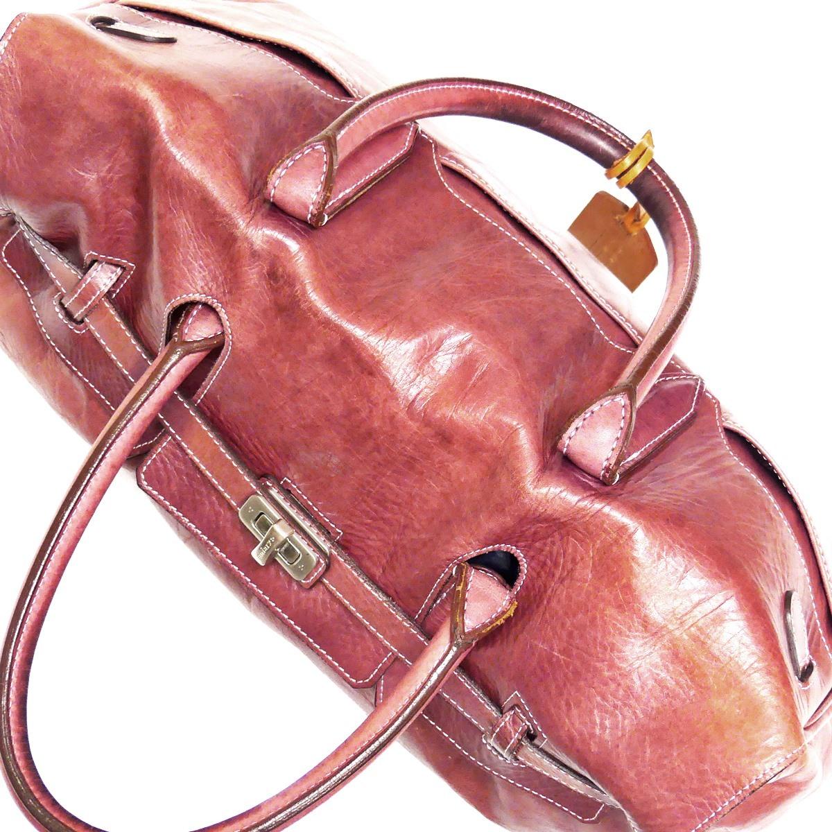 即決★aniary★レザーハンドバッグ アニアリ メンズ 赤 紫 本革 トートバッグ 本皮 かばん 鞄 レディース 手提げバッグ_画像7