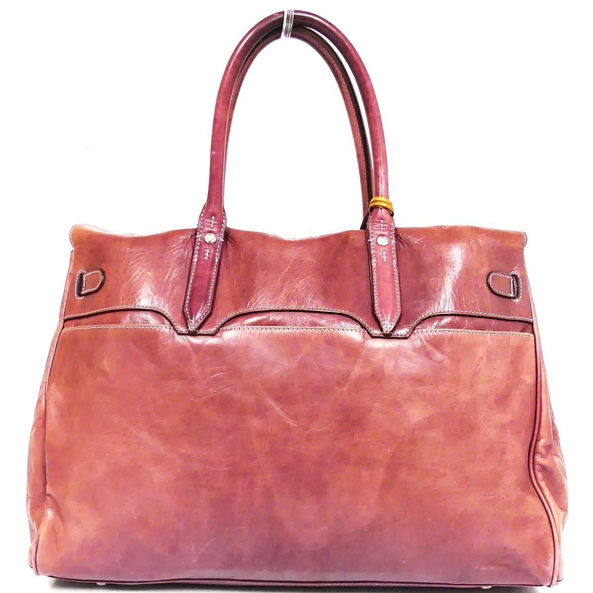 即決★aniary★レザーハンドバッグ アニアリ メンズ 赤 紫 本革 トートバッグ 本皮 かばん 鞄 レディース 手提げバッグ_画像3