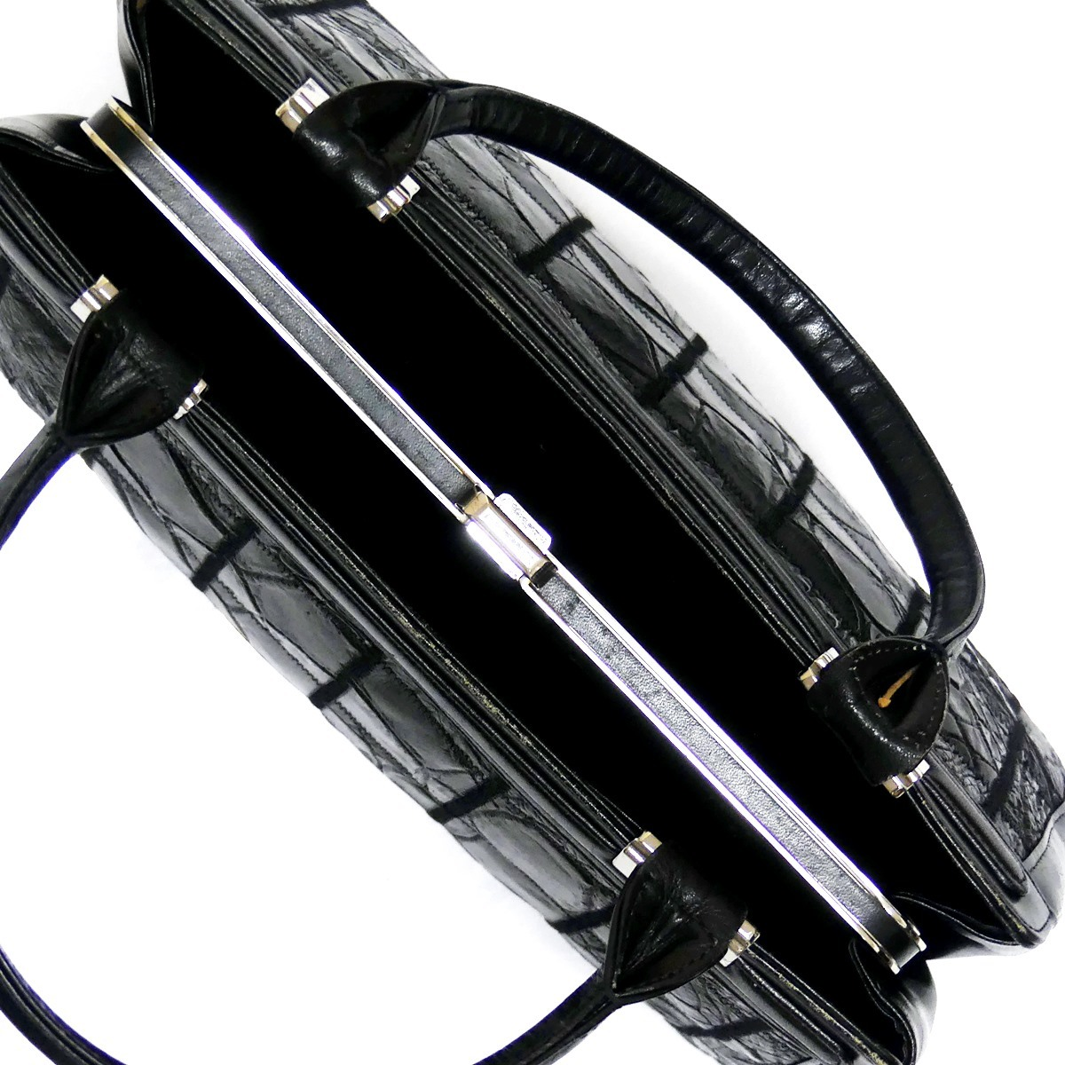 即決★N.B.★レザーハンドバッグ パッチワーク クロコ型押し メンズ 黒 本革 トートバッグ 本皮 かばん 鞄 レディース 手提げバッグ_画像7