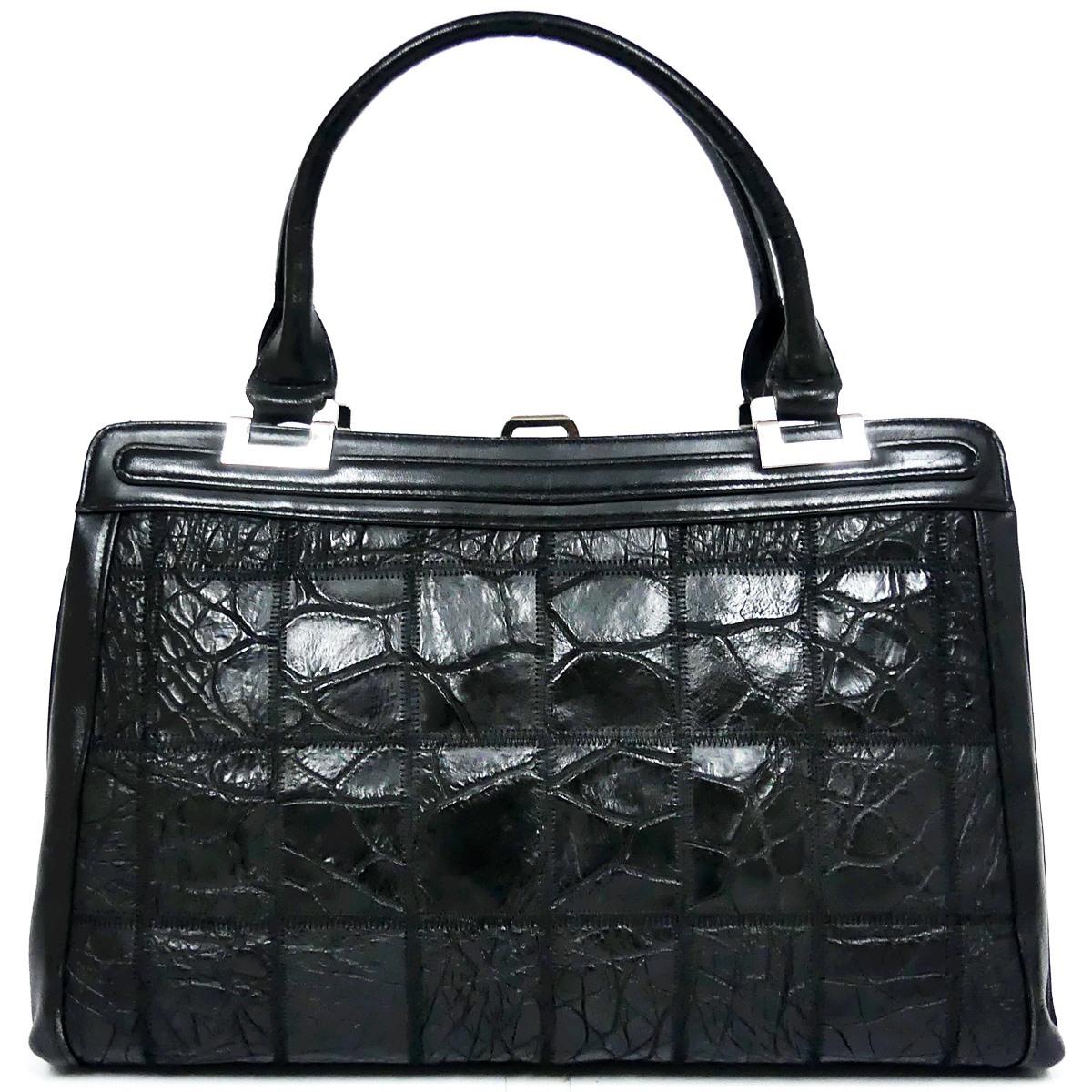 即決★N.B.★レザーハンドバッグ パッチワーク クロコ型押し メンズ 黒 本革 トートバッグ 本皮 かばん 鞄 レディース 手提げバッグ_画像3