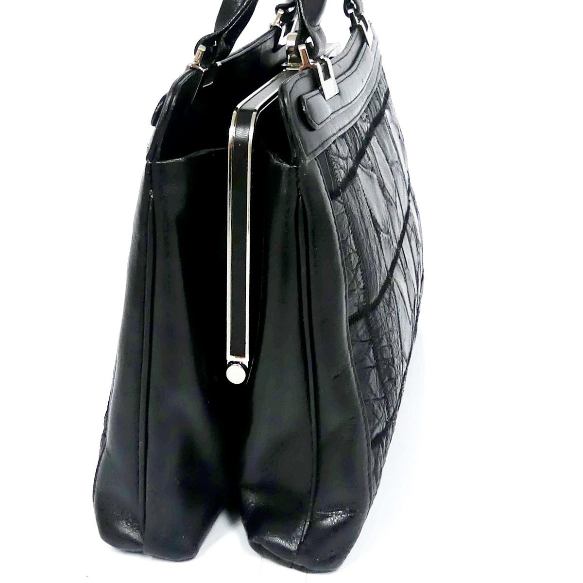 即決★N.B.★レザーハンドバッグ パッチワーク クロコ型押し メンズ 黒 本革 トートバッグ 本皮 かばん 鞄 レディース 手提げバッグ_画像4