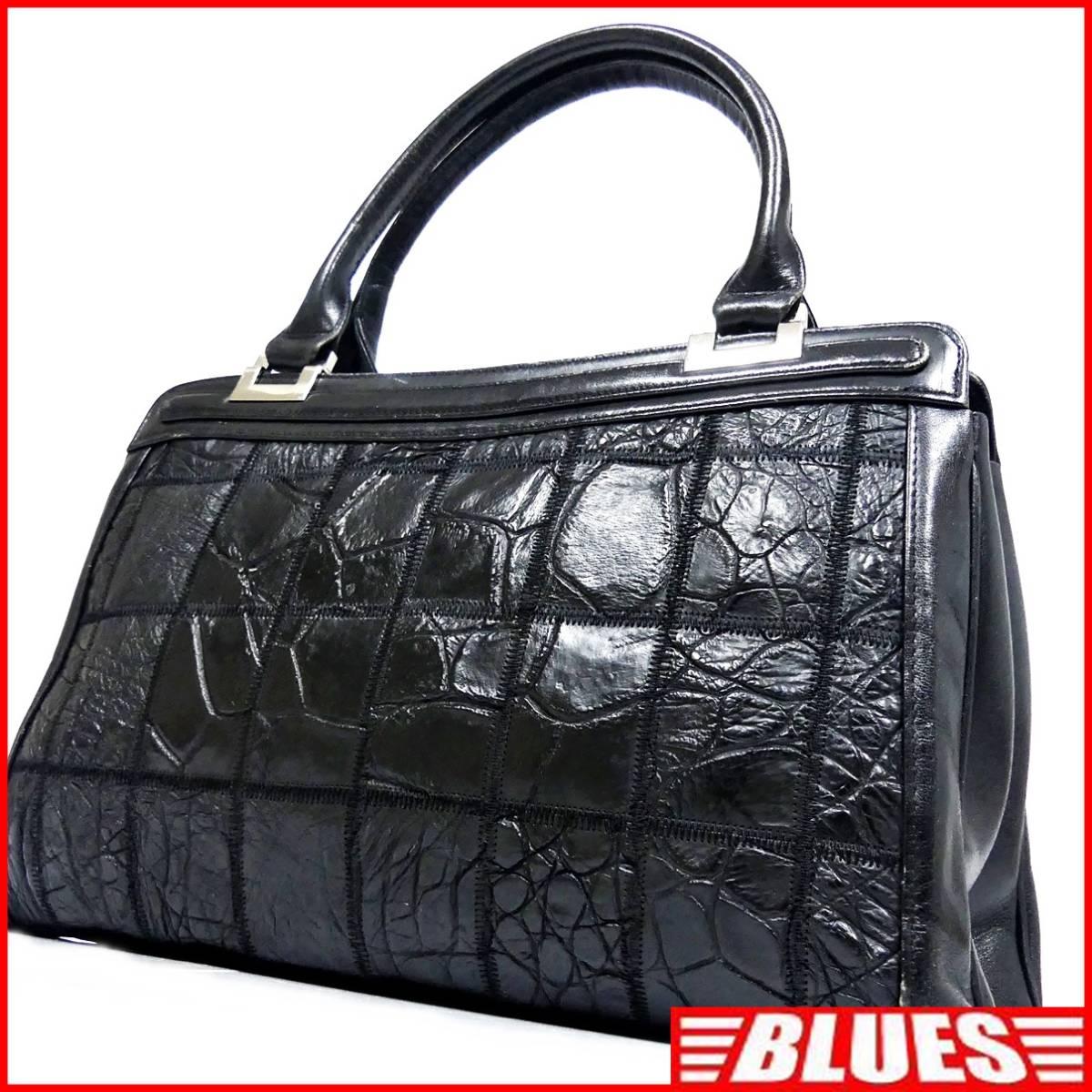 即決★N.B.★レザーハンドバッグ パッチワーク クロコ型押し メンズ 黒 本革 トートバッグ 本皮 かばん 鞄 レディース 手提げバッグ_画像1