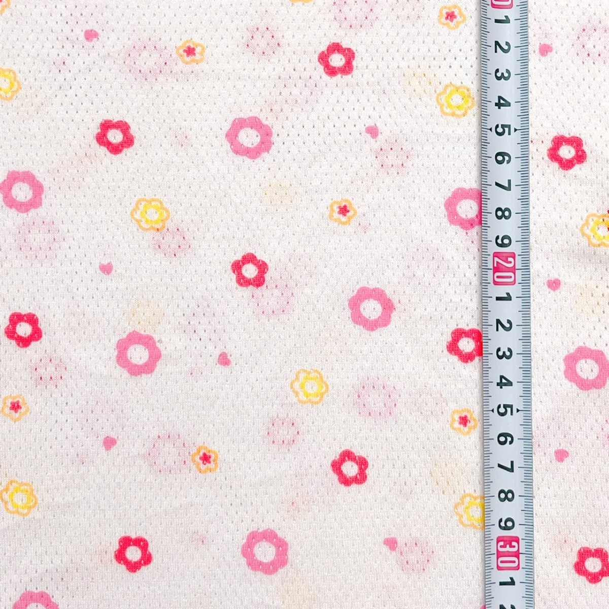 花柄 ピンク コットンメッシュニット 150×100cm 生地 布 ハギレ はぎれ ハンドメイド ニット生地 コットン