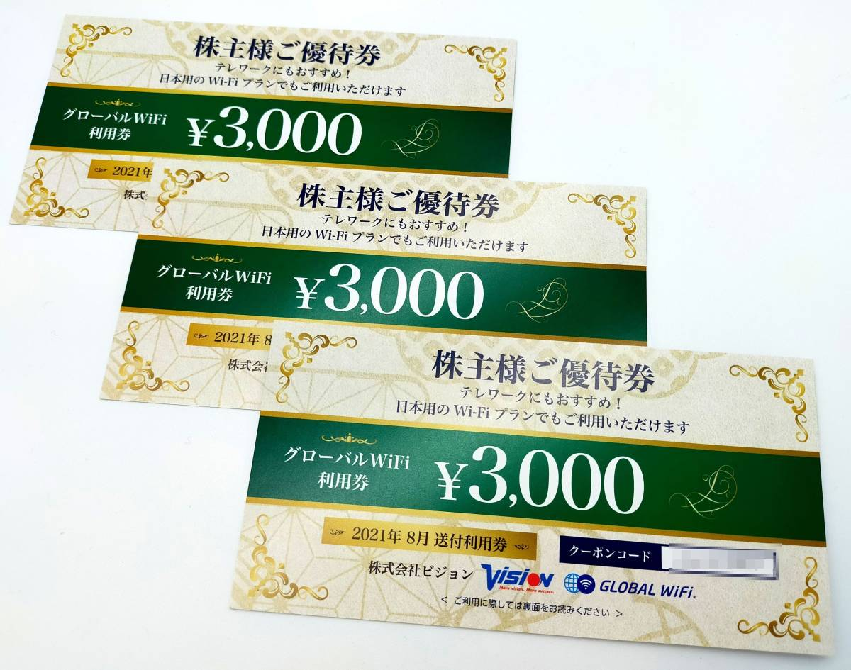 [申込有効期限:2022年8月31日]ビジョン株主優待券 Wi-Fi 自社サービス利用券 3000円×3枚_画像1