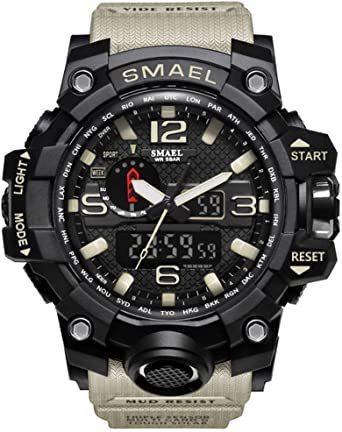 腕時計 メンズ SMAEL腕時計 メンズウォッチ 防水 スポーツウォッチ アナログ表示 デジタル クオーツ腕時計 多機能 ミリタ_画像1
