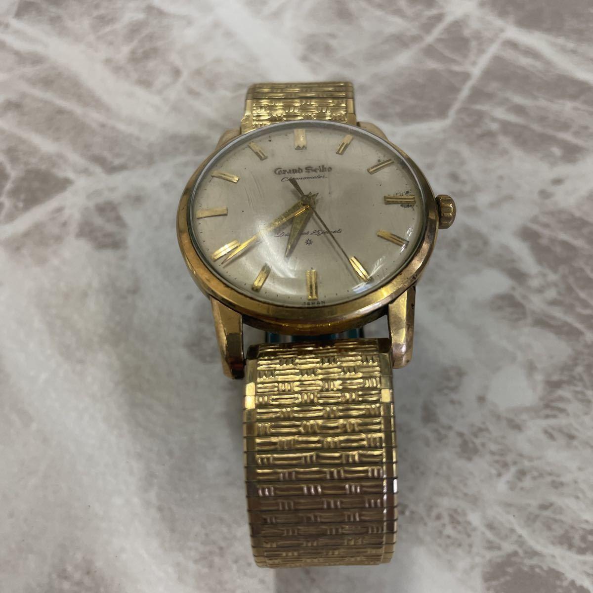稼働品・ムーブ綺麗・SEIKO セイコー GS グランドセイコー ファースト 1st Ref.J14070 Cal.3180 メンズ 腕時計 獅子メダル 14K 金張り_画像2