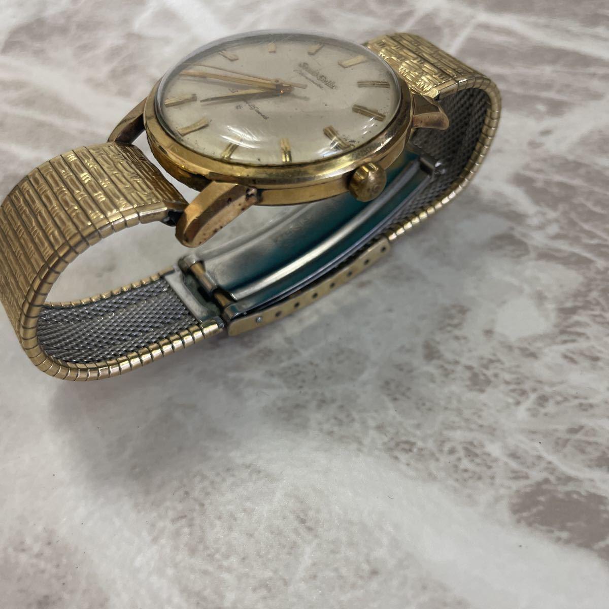 稼働品・ムーブ綺麗・SEIKO セイコー GS グランドセイコー ファースト 1st Ref.J14070 Cal.3180 メンズ 腕時計 獅子メダル 14K 金張り_画像4