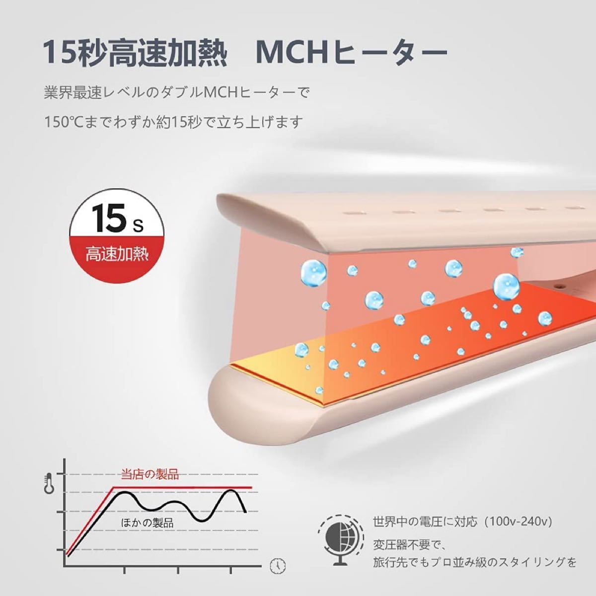 ストレートアイロン ヘアアイロン チタニウムプレート44mm 5段階温度調節 150℃〜230℃ 干湿両用