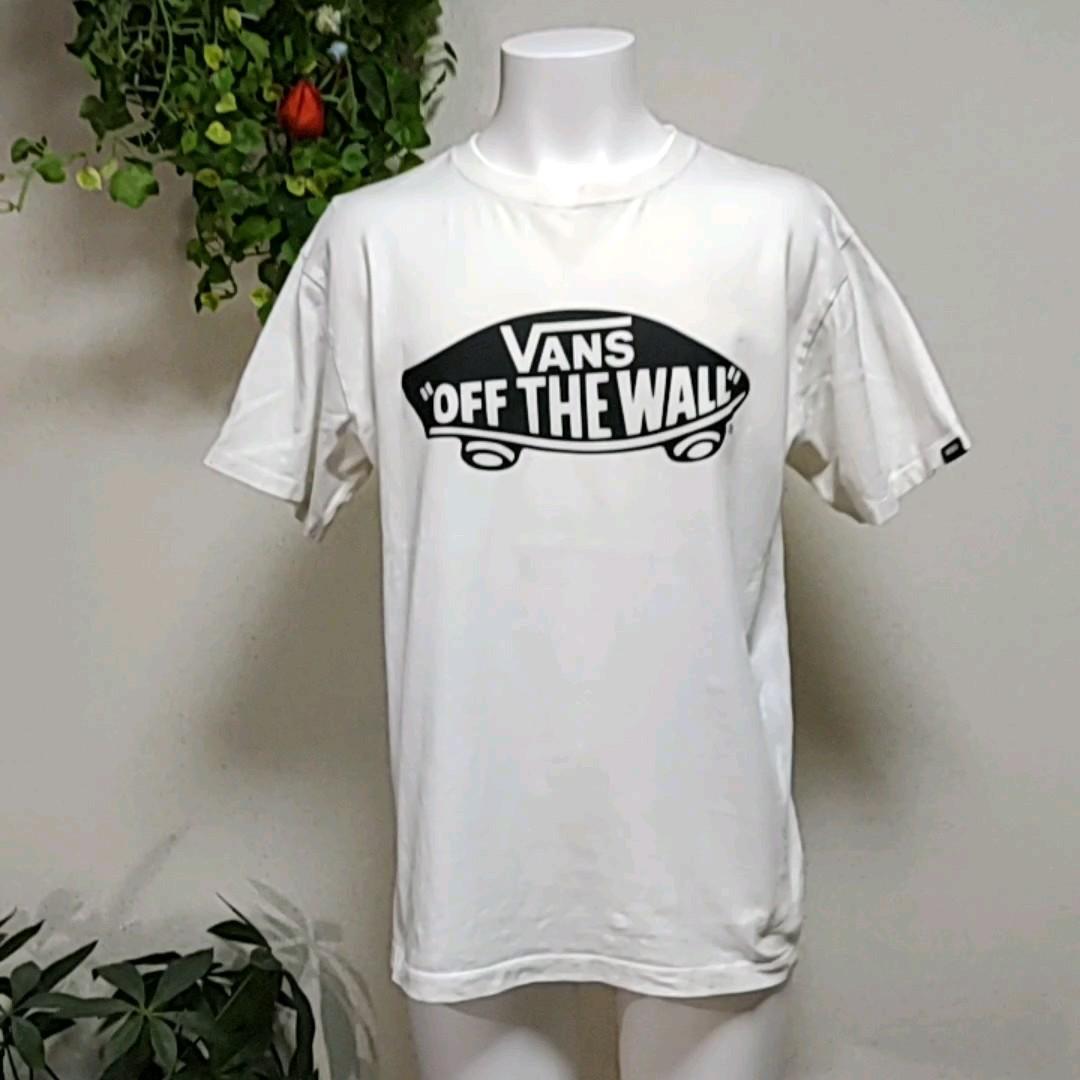 バンズ半袖TシャツM/L 白 定番スケボーロゴプリント VANS