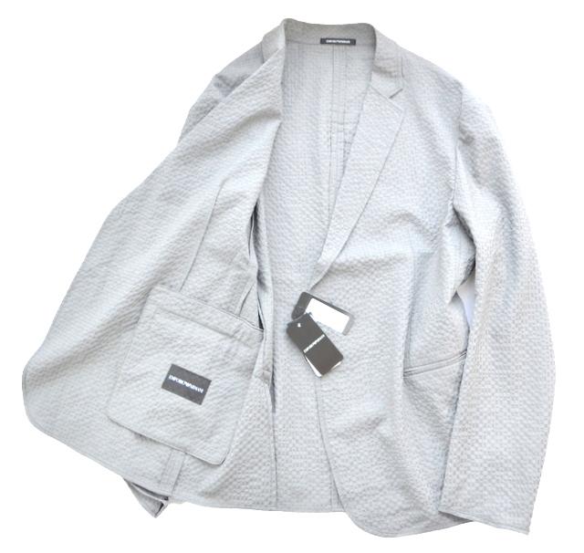 新品 ジョルジオアルマーニジャパン社 ARMANI アルマーニ 夏 軽量 アンコン メンズ テーラード ブレザー シアサッカージャケット 52 XL相当