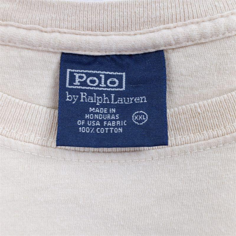 メンズUS-XXLサイズ Polo by Ralph Lauren ポロラルフローレン クルーネック半袖ワンポイントロゴTシャツ ベージュ系 ポニー刺繍 as-0192n_画像4