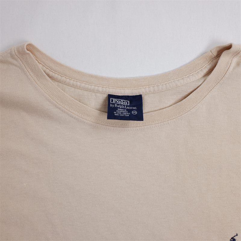 メンズUS-XXLサイズ Polo by Ralph Lauren ポロラルフローレン クルーネック半袖ワンポイントロゴTシャツ ベージュ系 ポニー刺繍 as-0192n_画像5