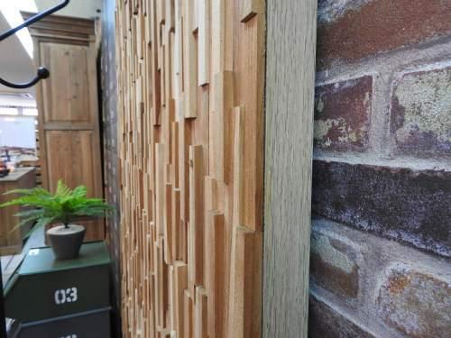 【個数限定】 天然木(チーク)オイル仕上げ 内装 ウッドパネル 10枚~ / 木材 パネル 壁板 ウッドタイル 貼れる木 diy ウォールステッカー_画像6