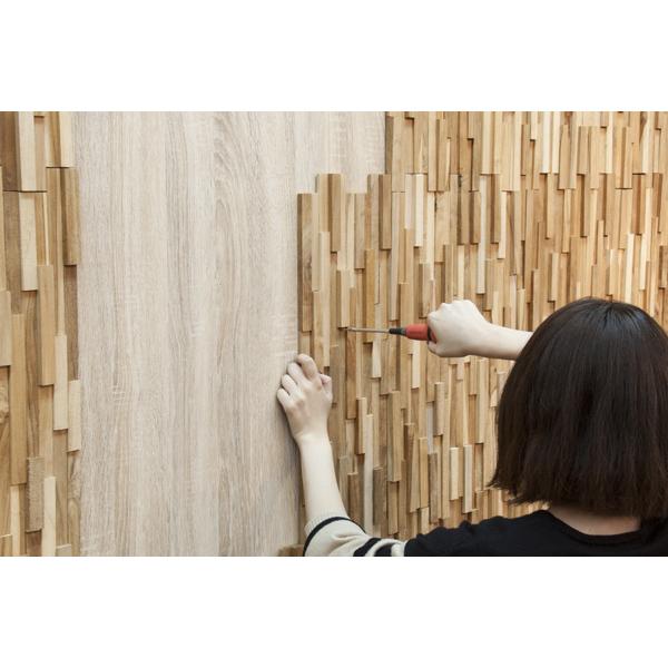 【個数限定】 天然木(チーク)オイル仕上げ 内装 ウッドパネル 10枚~ / 木材 パネル 壁板 ウッドタイル 貼れる木 diy ウォールステッカー_画像1