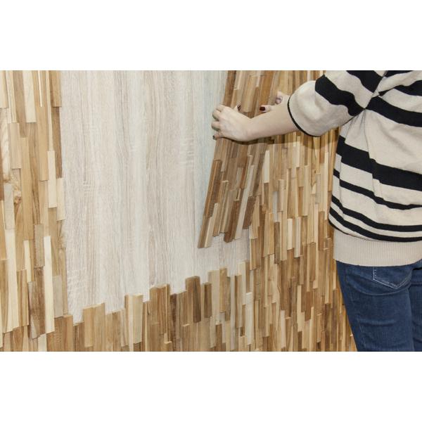 【個数限定】 天然木(チーク)オイル仕上げ 内装 ウッドパネル 10枚~ / 木材 パネル 壁板 ウッドタイル 貼れる木 diy ウォールステッカー_画像2