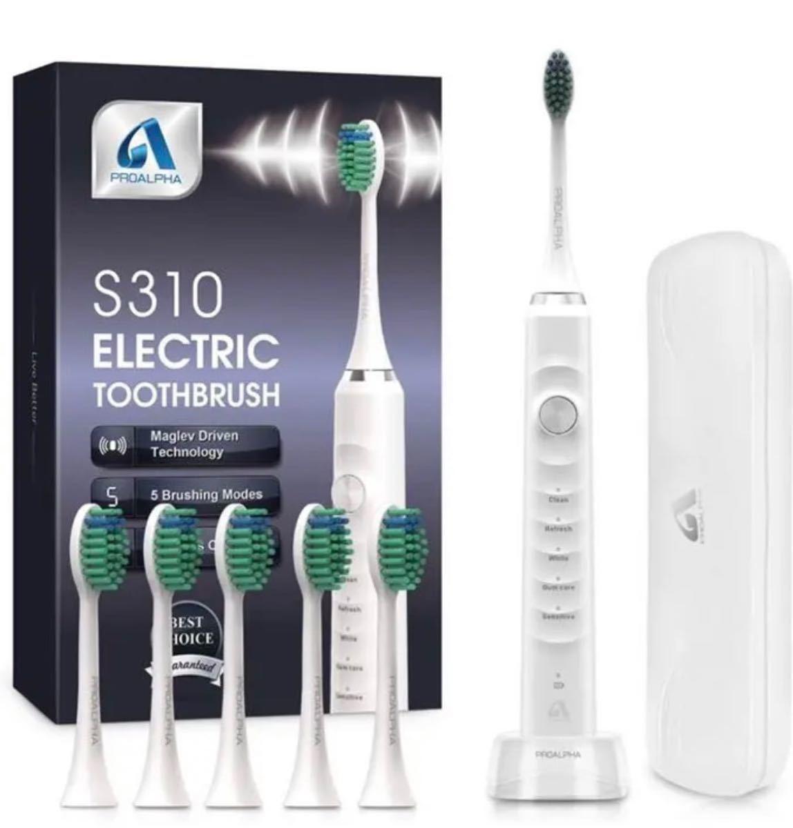 電動歯ブラシ 音波歯ブラシ ソニック USB充電式 IPX7防水 5本替えブラシ