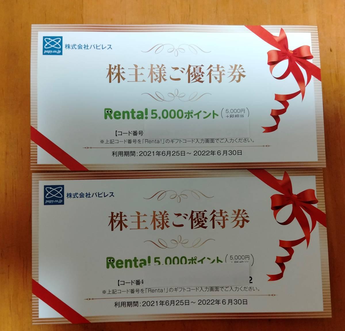 送料無料 ★ パピレス 株主優待 Renta! 1万円分(5000ポイント×2枚) _画像1