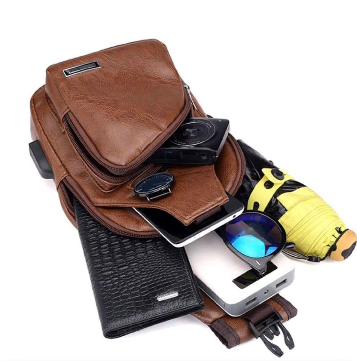メンズ ボディバッグ ワンショルダー ボディーバッグ ショルダーバッグ ブラウン 斜めがけ 大容量 USBポート 新品 軽量 撥水