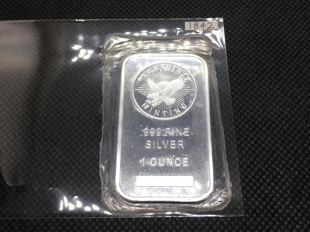 (新品) 31.1グラム .999 純銀 31.1g シルバー バー サンシャインミント 銀塊 インゴット ID付 1オンス USA アメリカ 金地金