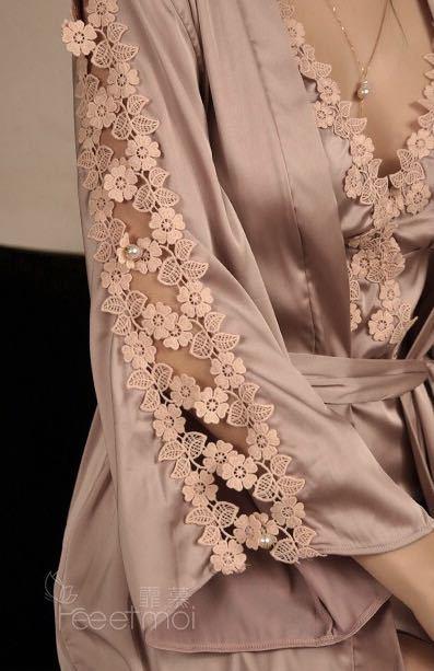 セクシーランジェリー ナイトウェア ルームウェア 花柄 ベビードール 透け透け コスプレ衣装 ガウン羽織 パールのボタン おしゃれ部屋着